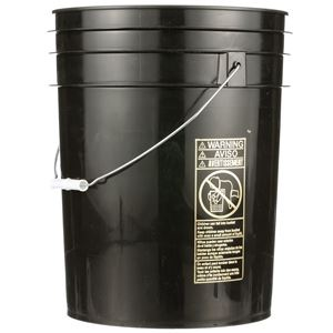 5 Gallon Black HDPE Plastic Round Pail with Metal Swing Handle - Front View