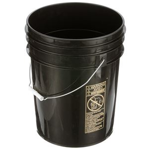 5 Gallon Pail HDPE Black Round - 90 mil - Metal Swing Handle - Angled View