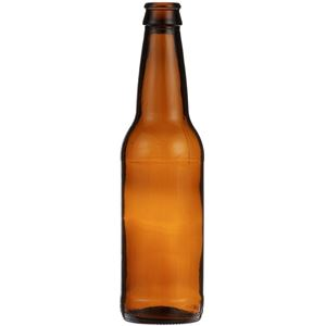 12 oz Amber Glass Round Beer Bottle - Pry-Off Crown - 26mm Crown Neck - Front View