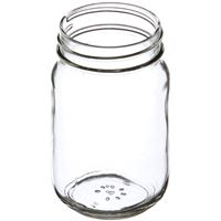 16 oz Clear Glass Round Economy Jar - 70-450 Deep Skirt Neck Finish - Angled View