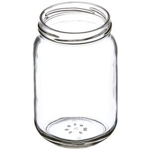16 oz Clear Glass Round Economy Jar - 70-2030 Lug Neck Finish - Angled View