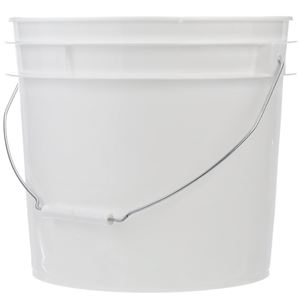 3.5 Gallon White HDPE Plastic Round Pail with Metal Swing Handle - Front View