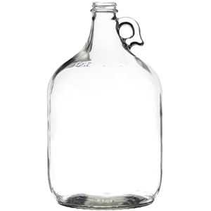 1 Gallon Clear Glass Round Handleware Growler - 38-405 Neck Finish - Front View