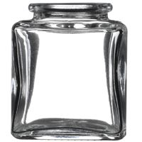 3 oz Clear Glass Square Jar - 27 mm Cork Neck Finish - Front View