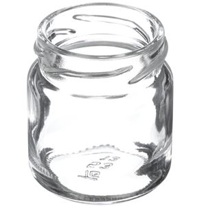 53 ml Clear Glass Round Straight Sided Jar - 43-2010 Lug Neck Finish - Angled View