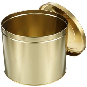 914 x 800 Gold Metal Round Clambake Tin Can with Cover -  Holds 15 Lbs - Angled View Lid Off
