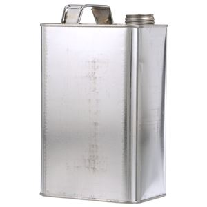 """1/2 Gallon Silver Metal Oblong F-Style Can with 1.25"""" Alpha Neck Finish and Handle - Front Angled View"""