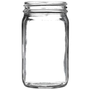 8 oz Clear Glass Round Economy Jar - 58-405 Neck Finish - Front View