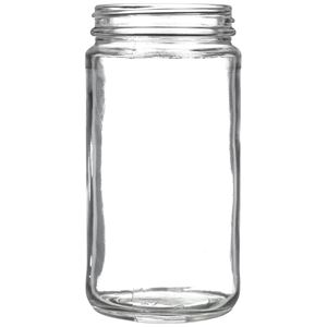 12 oz Clear Glass Round Paragon Jar - 63-405 Neck Finish - Front View