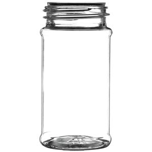 3.5 oz Clear PET Plastic Round Spice Jar - 43-485 Neck Finish - Front View