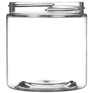 8 oz Clear PET Plastic Jar Round - 70-400 Neck Finish - Front View