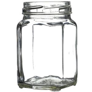 190 ml Clear Glass Square Jar - 58mm Lug Neck Finish - Front Angled View