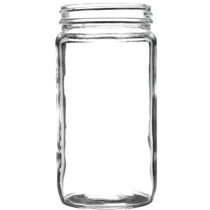 16 oz Clear Glass Round Jar - 70-400 Neck Finish - Front View