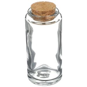 3.4 oz Clear Glass Cork Top Jar Round - Decorative Cork Closure Included - Angled View