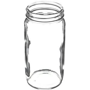 8 oz Clear Glass Round Jar - 58-400 Neck Finish - Angled View