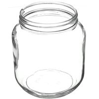 64 oz Clear Glass Round Jar - 110-405 Neck Finish - Angled View