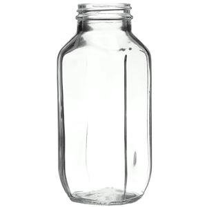 16 oz Clear Glass Jar French Square - 48-400 Neck Finish - Angled Front View