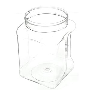 64 oz Clear PET Ribbed Grip Jar Square - 110-400 Neck Finish - Angled View