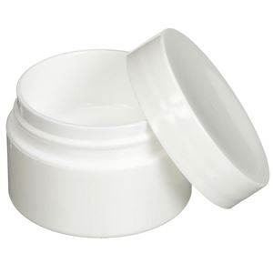 0.5 oz White P/S Outer P/P Inner Round Double Wall Jar - Closure Included - Closure Off View