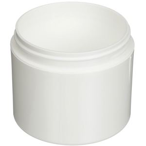 4 oz White P/P Plastic Round Double Wall Jar - 70-400 Neck Finish - Angled View