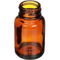 30 cc Amber Glass Round Packer Bottle - 28-400 Neck Finish - Angled View