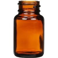 30 cc Amber Glass Round Packer Bottle - 28-400 Neck Finish - Front View