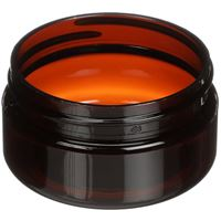 2 oz Light Amber PET Plastic Round Low Profile Jar - 58-400 Neck Finish - Angled View