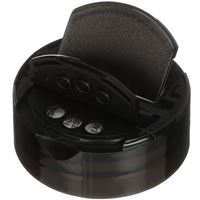 48-485 Dual Flip Top Lined Black P/P Plastic Closure - PSF-1 Printed Liner - Angled View