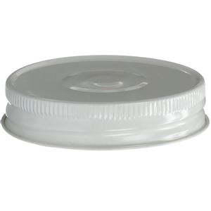 70-450 Continuous Thread White/White Metal Closure - Plastisol Lined - Front View