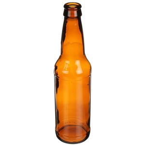 12 oz Amber Glass Beer Round - Pry-Off Crown - Angled View