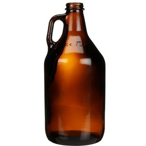 64 oz Amber Glass Round Handleware Growler - 38-400 Neck Finish - Front View