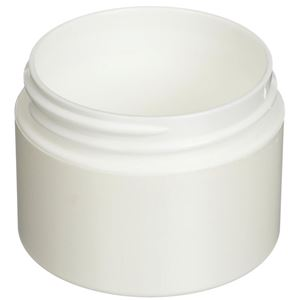 1 oz White P/S Outer P/P Inner Plastic Round Double Wall Jar - 53-400 Neck Finish - Angled View