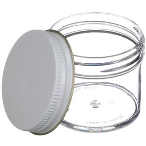 2 oz Clear P/S Jar Round - 53-400 Neck Finish - Closure Included  - Angled View
