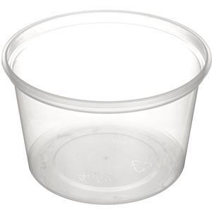 18 oz Natural HDPE Plastic Round Tub - 408 Diameter  - Angled View