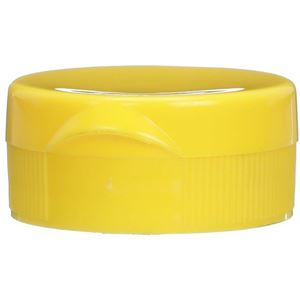 38-400 Flip Top Dispensing Lined Yellow P/P Plastic Closure - 9.5mm Orifice -  Closed Front View