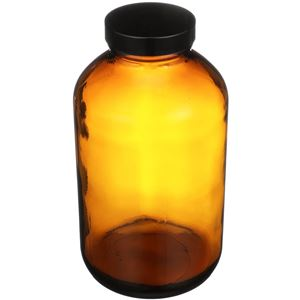 950 cc Nitrogen Purged Amber Glass Packer Round - Black Cap Attached - Angled View