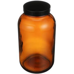 1250 cc Nitrogen Purged Amber Glass Packer Round - Black Cap Attached - Angled View