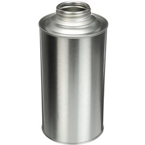 """32 oz Silver Metal Round Cone Top Can  with 1.75"""" Delta Neck Opening - Angled View"""