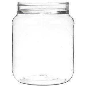 66 oz Clear PET Plastic Round Canister Jar - 110-400 Special Neck Finish - Front View
