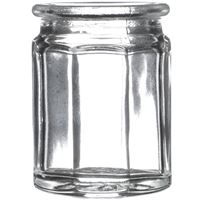 1.2 oz Clear Glass 10-Sided Cork Top Jar- 27 mm Cork Neck Finish - Front View