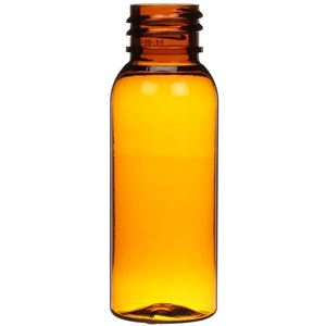1 oz Amber PET Plastic Bullet Round Bottle - 20-410 Neck Finish - Front View