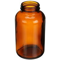 625 cc Amber Glass Round Packer Bottle - 53-400 Neck Finish - Angled View