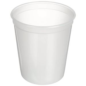 32 oz Natural HDPE Drinking Cup Round - 410 Diameter - Angled View