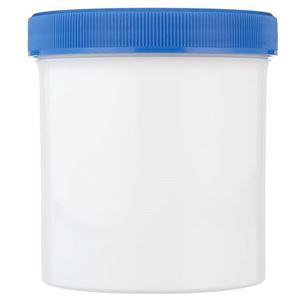 16 oz White P/P Plastic Round Nitrogen Purged Jar - 89-400 Blue Cap Included - Front View