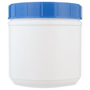 44 oz Nitrogen Purged White HDPE Plastic Jar Round - Includes Closure - Front View