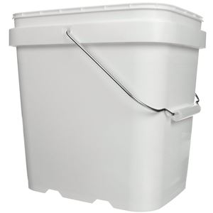 2 Gallon White HDPE Plastic EZ Stor Pail Oblong - Metal Handle - Front Angled View
