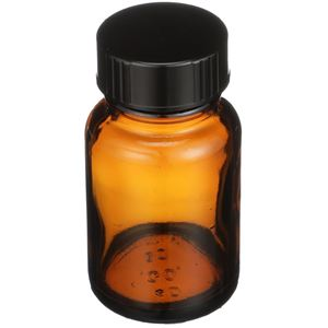 30 cc Nitrogen Purged Amber Glass Packer Round - Black Cap Attached - Angled View