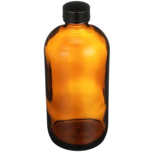 16 oz Amber Glass Nitrogen Purged Boston Round Bottle with Attached Cap - 28-400 Neck Finish - Angled View