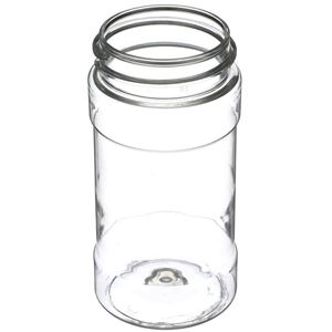 8 oz Clear PET Plastic Spice Jar Round - 53-485 Neck Finish - Angled View