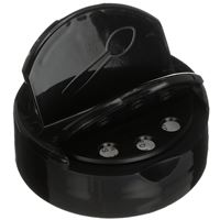 53-485 Dual Dispensing Flip Top Lined Black Plastic Spice Flapper Closure - Angled Shaker View